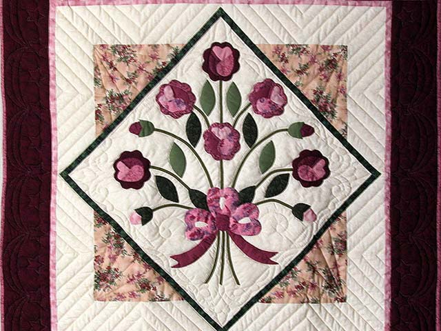 Raspberry and Green Victorian Rose Wall Hanging Photo 2
