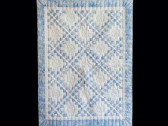 Pastel Blue and White Irish Chain Crib Quilt Photo 1