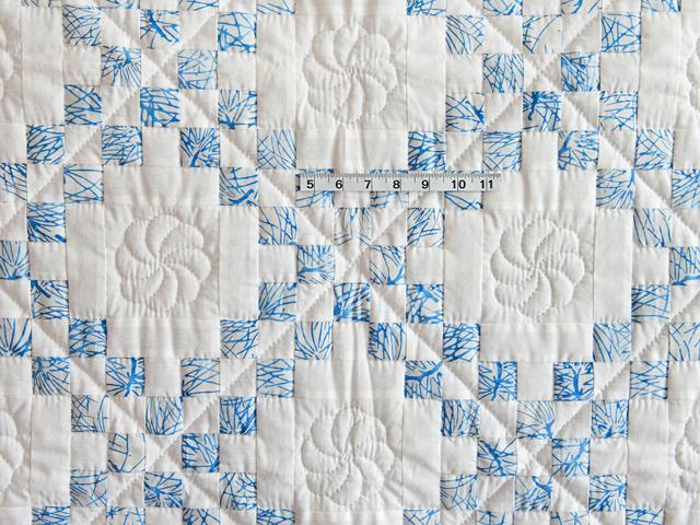 Pastel Blue and White Irish Chain Crib Quilt Photo 5