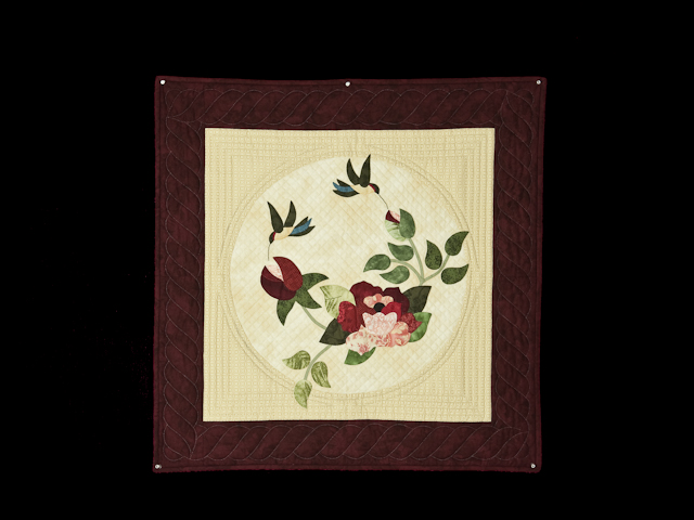 Burgundy and Neutral Rose Garden Wall Hanging Photo 1