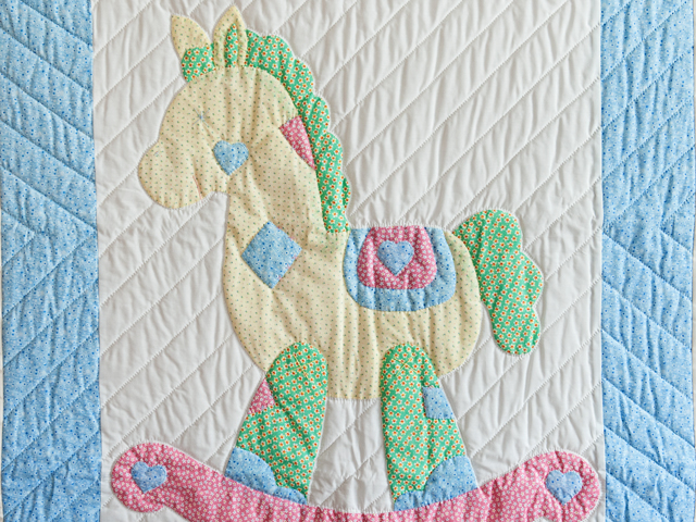 Pastel Rocking Horse Crib Quilt Photo 2