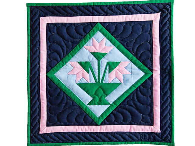 Indiana Amish Pink and Navy Tulips Wall Hanging Photo 1