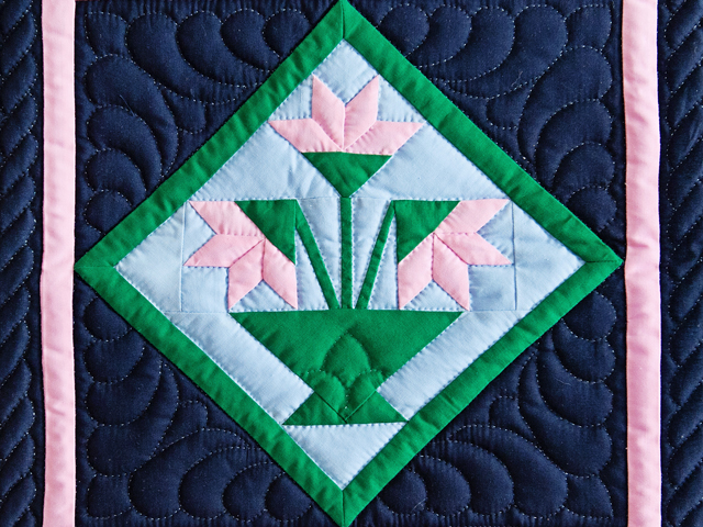 Indiana Amish Pink and Navy Tulips Wall Hanging Photo 2