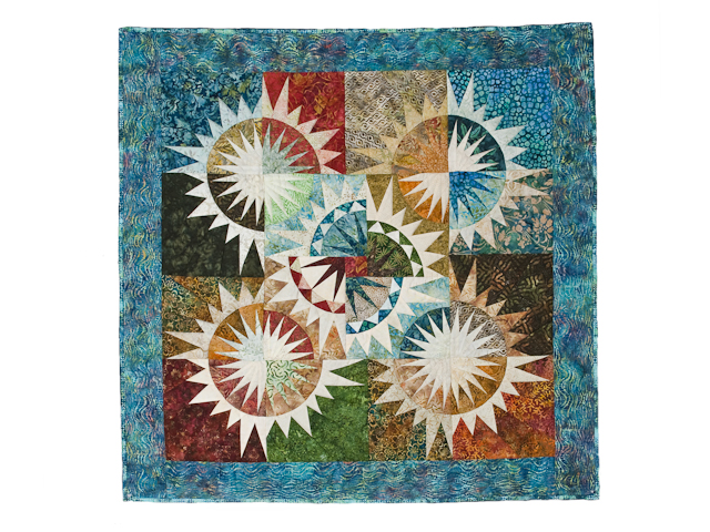 Teal blue and Multicolor Fireworks Wall Hanging Photo 1