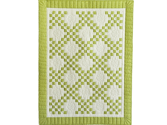 Spring Green and Cream Irish Chain Crib Quilt Photo 1