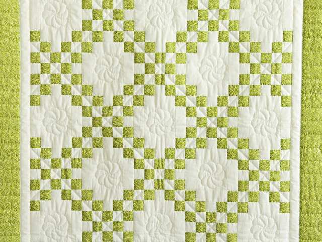 Spring Green and Cream Irish Chain Crib Quilt Photo 2