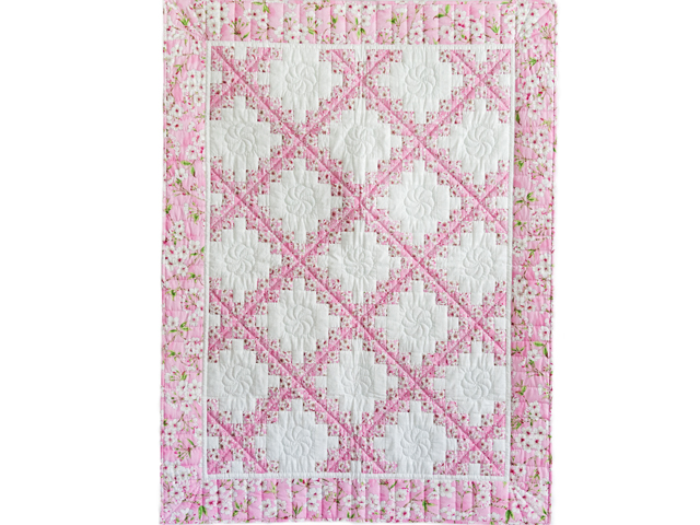 Perfect Pink Cherry Blossom Irish Chain Crib Quilt Photo 1