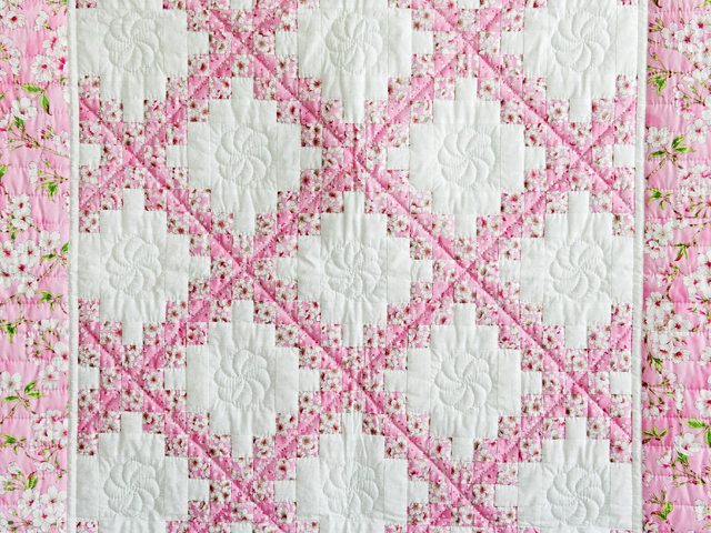 Perfect Pink Cherry Blossom Irish Chain Crib Quilt Photo 2