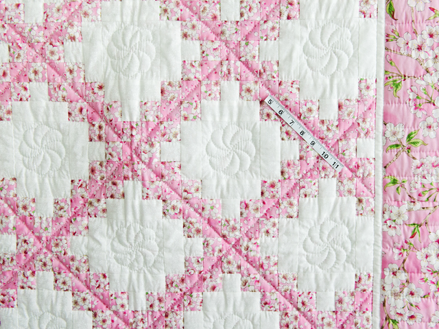 Perfect Pink Cherry Blossom Irish Chain Crib Quilt Photo 3