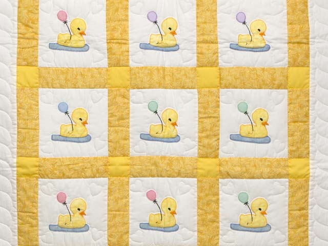 Yellow and Cream Lucky Ducks Crib Quilt Photo 2