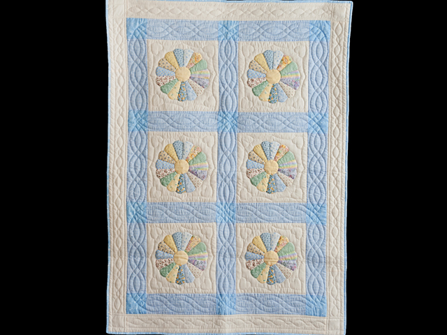 Pastel Blue Dresden Plate Crib Quilt Photo 1