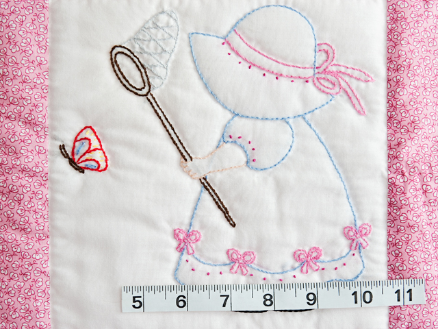 Pink and White Hand Embroidered Crib Quilt Photo 4