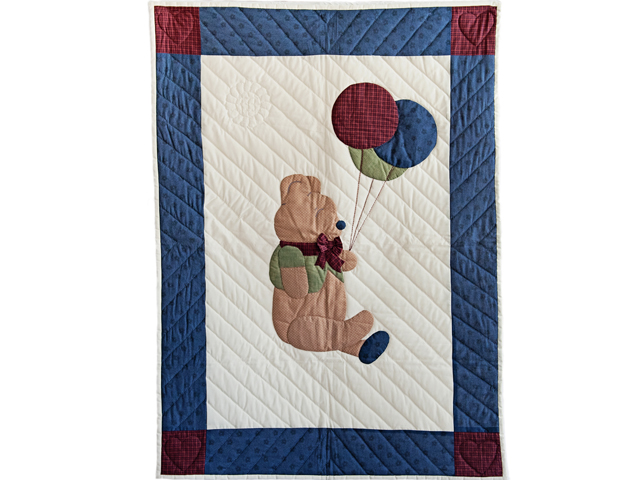 Charming Navy and Burgundy Party Bear Crib Quilt Photo 1