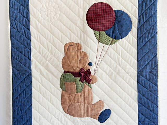 Charming Navy and Burgundy Party Bear Crib Quilt Photo 2