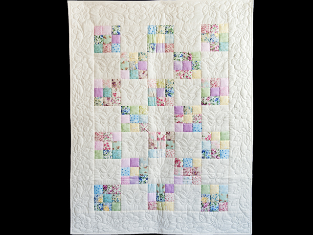 Pastel and Cream Butterfly Garden Nine Patch Crib Quilt Photo 1
