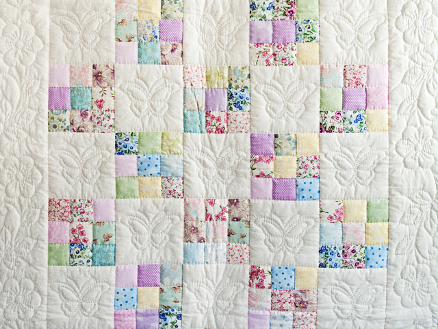 Pastel and Cream Butterfly Garden Nine Patch Crib Quilt Photo 2