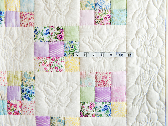 Pastel and Cream Butterfly Garden Nine Patch Crib Quilt Photo 3