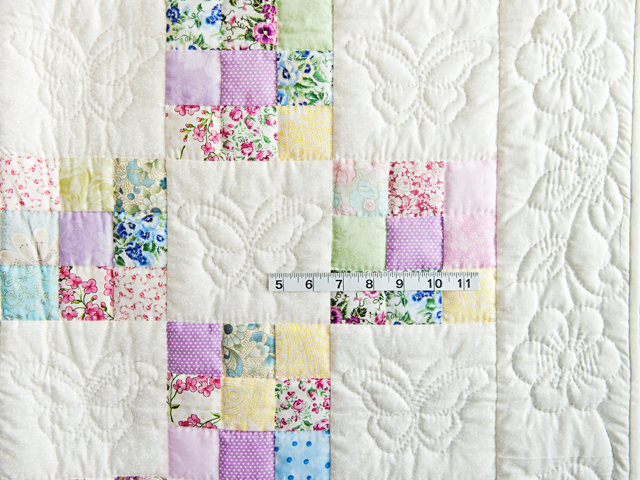 Pastel and Cream Butterfly Garden Nine Patch Crib Quilt Photo 4