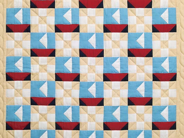 Blue Red and Tan Sailboat Nine Patch Crib Quilt Photo 2