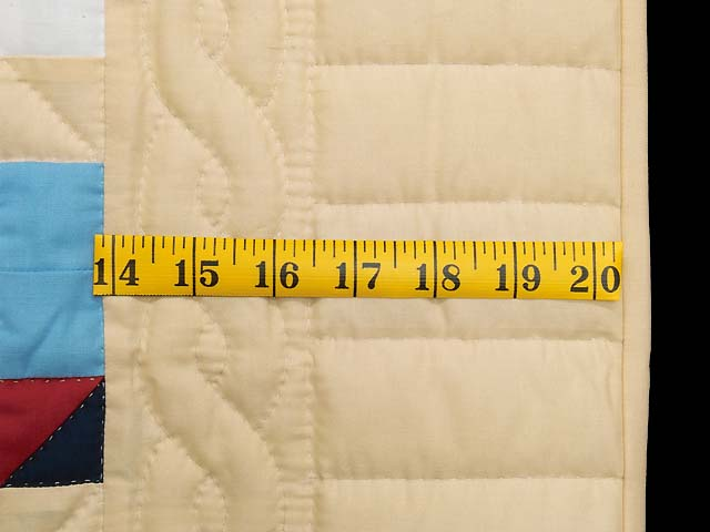 Blue Red and Tan Sailboat Nine Patch Crib Quilt Photo 5