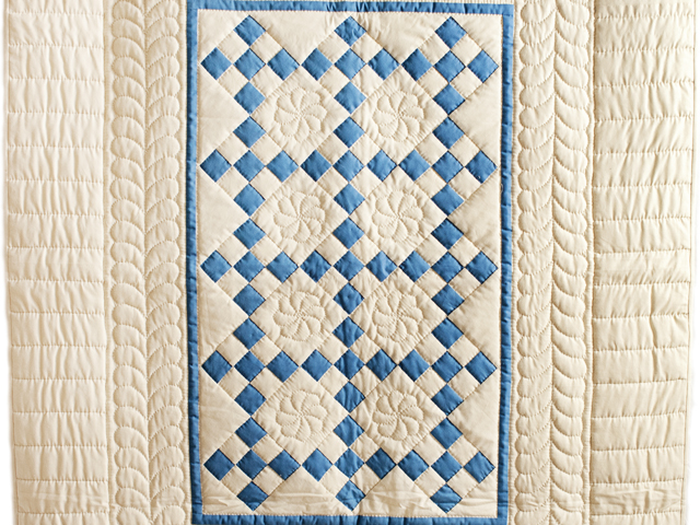 Blue and Tan Nine Patch Crib Quilt Photo 2