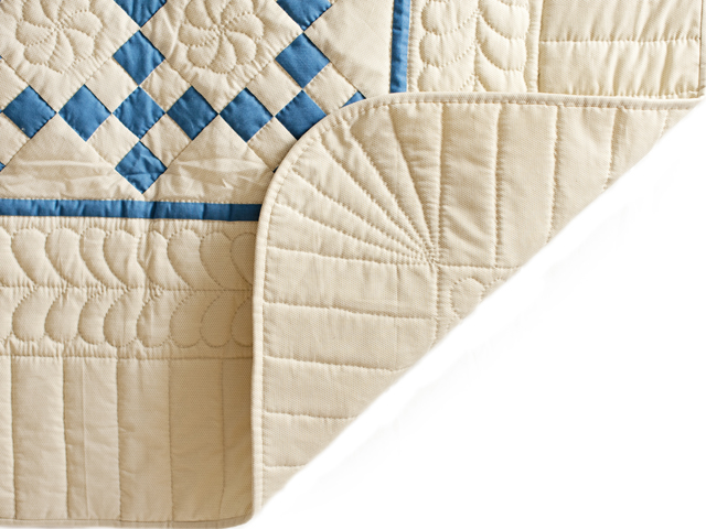 Blue and Tan Nine Patch Crib Quilt Photo 3