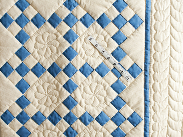 Blue and Tan Nine Patch Crib Quilt Photo 5