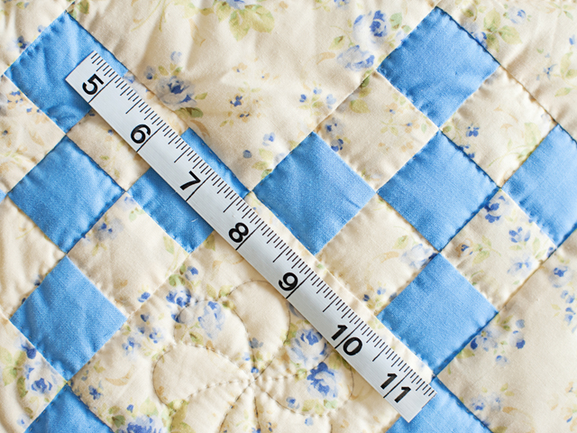 Blue and Soft Yellow Floral Nine Patch Crib Quilt Photo 6