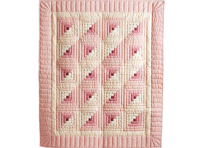 Precious Rose and Cream Log Cabin Crib Quilt Photo 1