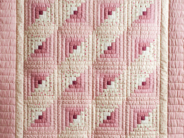 Precious Rose and Cream Log Cabin Crib Quilt Photo 2