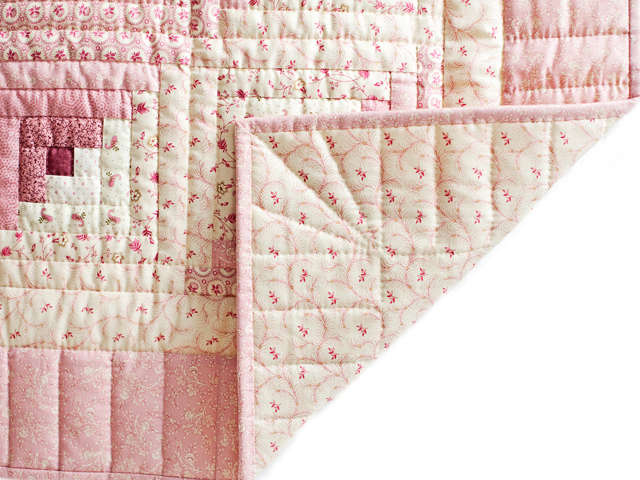 Precious Rose and Cream Log Cabin Crib Quilt Photo 3