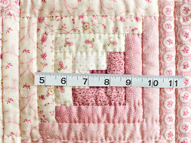 Precious Rose and Cream Log Cabin Crib Quilt Photo 4