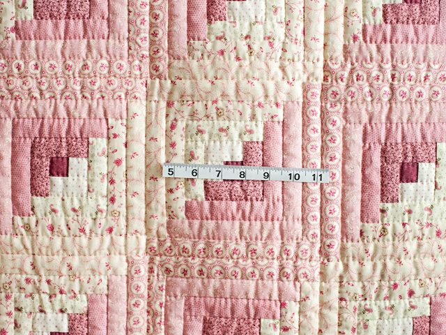 Precious Rose and Cream Log Cabin Crib Quilt Photo 5