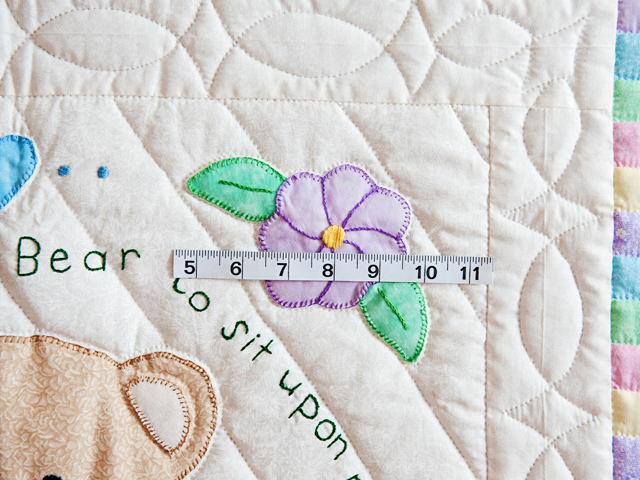 Embroidered Teddy Bear Crib Quilt Photo 3