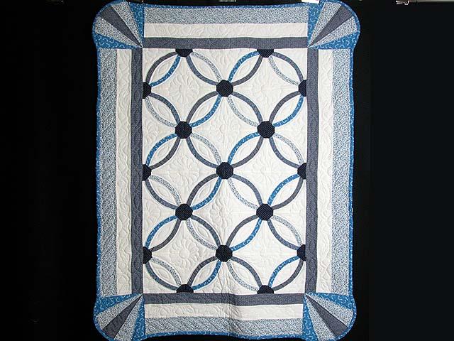 Blue Mini Wedding Rings Crib Quilt Photo 1