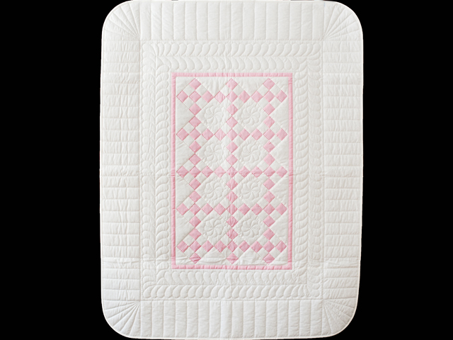 Pretty Pink and White Nine Patch Crib Quilt Photo 1
