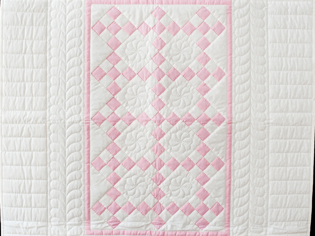 Pretty Pink and White Nine Patch Crib Quilt Photo 2