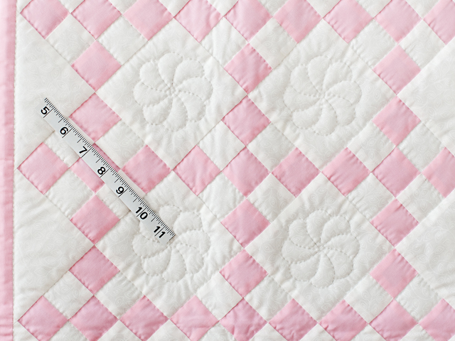 Pretty Pink and White Nine Patch Crib Quilt Photo 5
