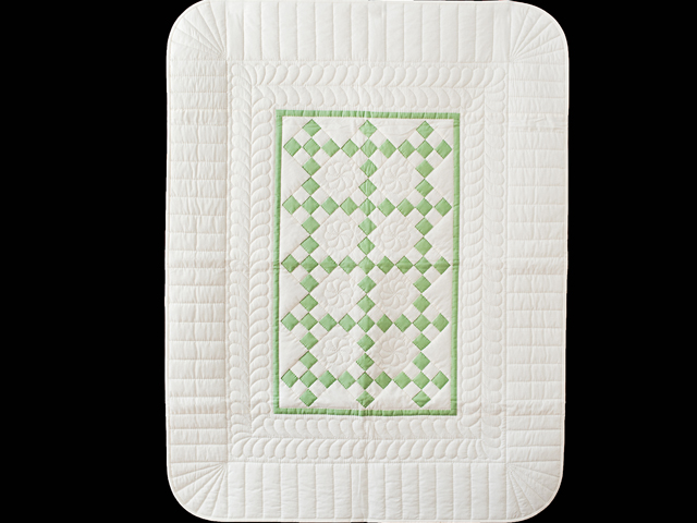 Spring Green and Cream Nine Patch Crib Quilt Photo 1