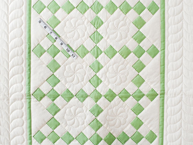Spring Green and Cream Nine Patch Crib Quilt Photo 3