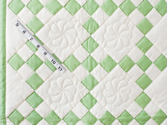 Spring Green and Cream Nine Patch Crib Quilt Photo 5