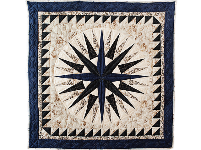 Navy and Tan Compass Star Wall Hanging Photo 1