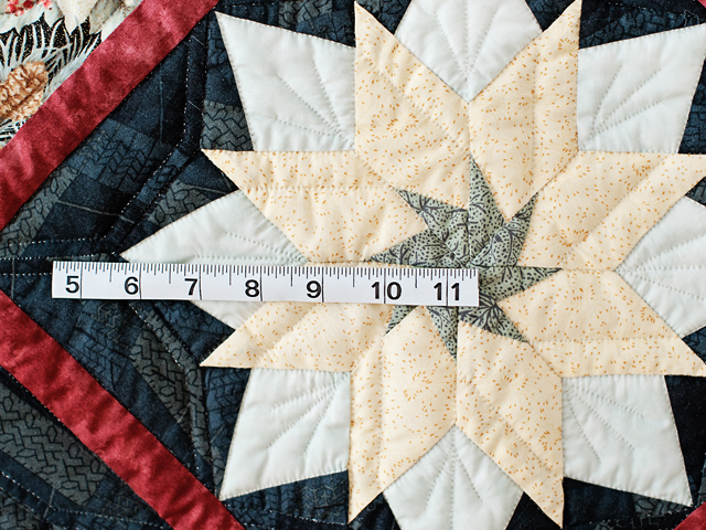 Navy, Rust and Cream Christmas Poinsettia Star Wall Hanging Photo 4