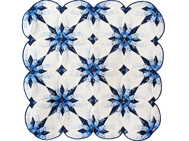 Navy and Blue Wedding Ring Star Quilt Photo 1