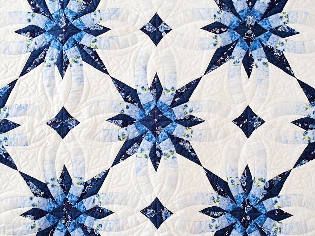 Navy and Blue Wedding Ring Star Quilt Photo 2