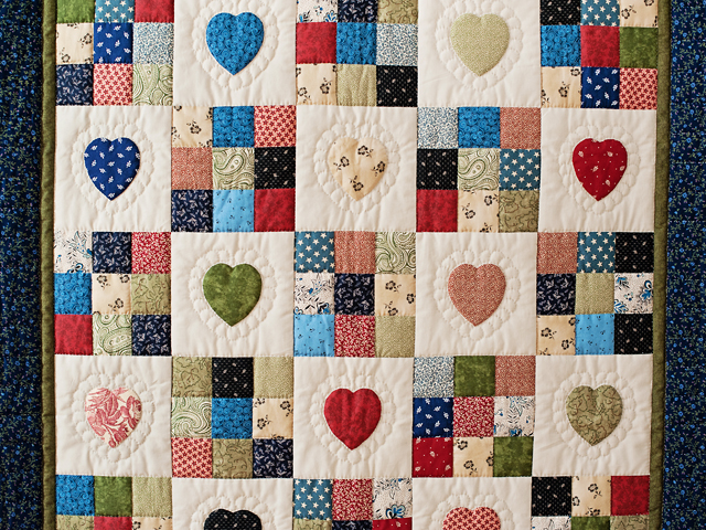 Navy and Multicolor Hearts and Nine Patch Quilt Photo 2