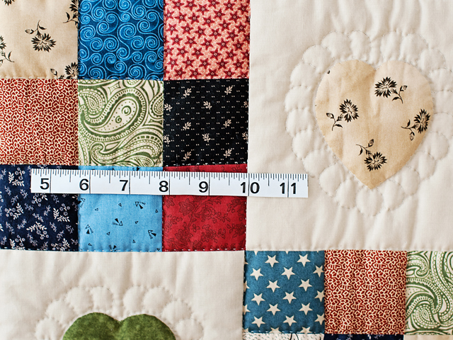 Navy and Multicolor Hearts and Nine Patch Quilt Photo 4