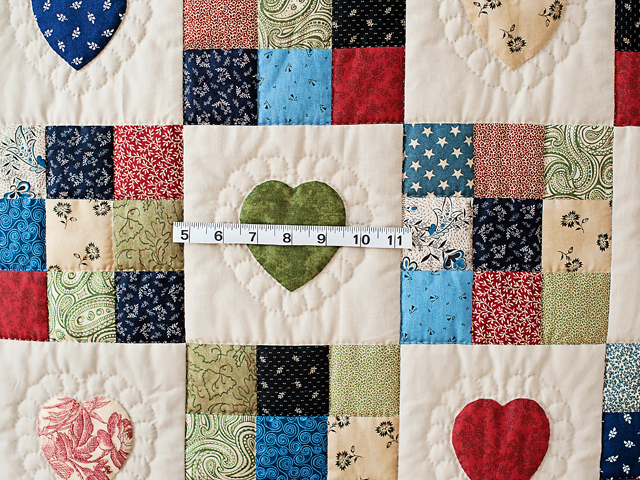 Navy and Multicolor Hearts and Nine Patch Quilt Photo 5