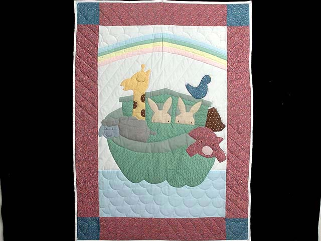 Pink and Pastel Noahs Ark Crib Quilt Photo 1