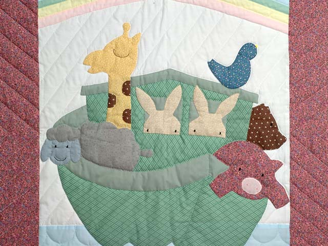 Pink and Pastel Noahs Ark Crib Quilt Photo 2